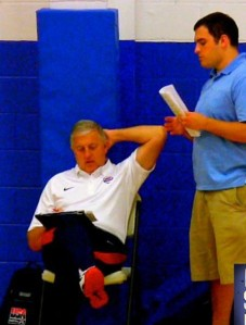 CrossRoads Elite Founder Adam Shoulders and Team USA U17 National Team Head Coach Don Showalter scouting talent at the 2014 Underclassmen Exclusive in Nashville, TN.